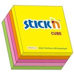 """Cub notes autoadeziv 76 x 76 mm, 400 file, Stick""""n - 5 culori fluorescente"""